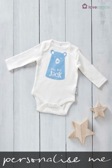 Personalised Flock Printed Named Baby Bear Design Long Sleeved Bodysuit by Loveabode