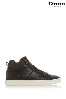 Dune London Videl Black Leather Contrast Collar Hi-Top Trainers