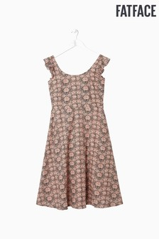 FatFace Green Copper And Black Liberty Linen Blend Dress