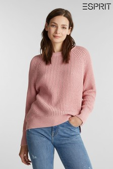 Esprit Womens Pink Long Sleeved Waffle Sweater