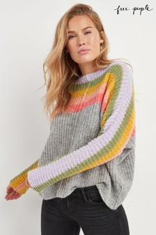 Free People Grey Rainbow Stripe Jumper