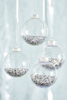 Set of 4 Shaker Filled Baubles
