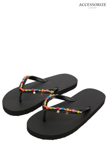 Accessorize Beaded Star Charm Flip Flops