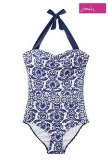 Joules Blue Prudith Halterneck Swimsuit