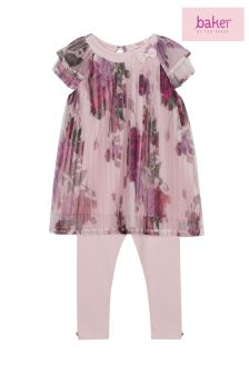 baker by Ted Baker Pink Rose Print Pleated Top And Legging Set
