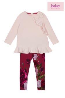 baker by Ted Baker Pink Side Frill Top Rose Print Legging