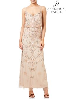 Adrianna Papell Cream Petite Beaded Floral Blouson Gown