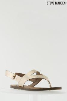 Steve Madden Gold Slice Toe Thong Sandal