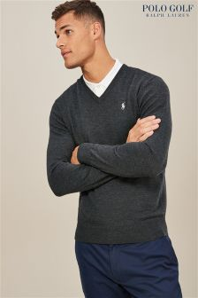 Ralph Lauren Polo Golf Avery Heather V Neck Sweater