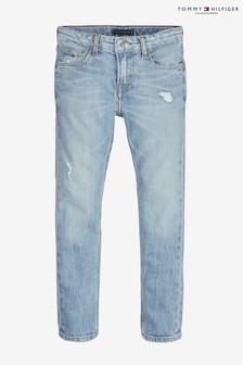 Niebieskie, wąskie, lekkie dżinsy Tommy Hilfiger Boys Scanton