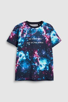 All-Over Print Slogan T-Shirt (3-16yrs)