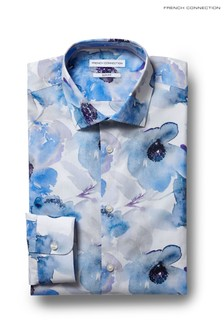 Camisa de corte slim y puños sencillos en azul y estampado floral de French Connection