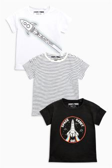 Rocket Printed T-Shirt Three Pack (3mths-6yrs)