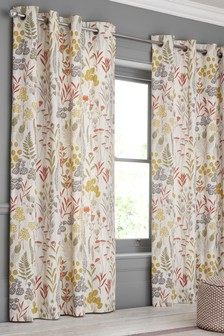 Woodland Sprig Print Eyelet Curtains
