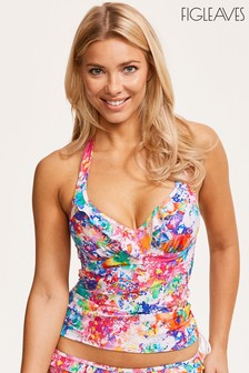 Figleaves White Non Pad Halter Adjustable Side Tankini Top