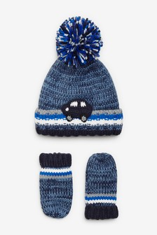 Crochet Car Hat And Mitt Two Piece Set (Younger)