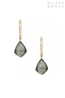 Oliver Bonas Grey Sidra Long Stone Gold Plated Brass Drop Earrings