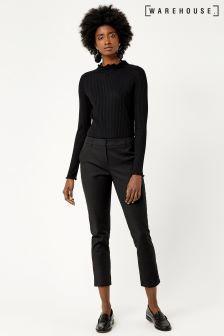 Warehouse Black Compact Cotton Trouser