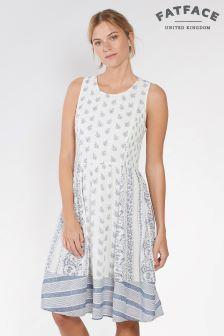 FatFace White Karen Woodblock Paisley Dress