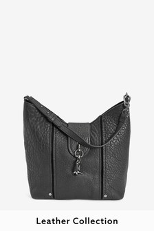 Leather Grainy Hobo Bag