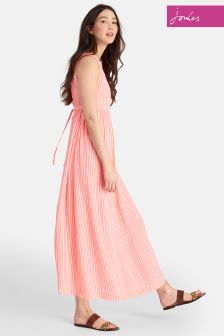 Joules Bright Orange Stripe Anastasia Maxi Dress