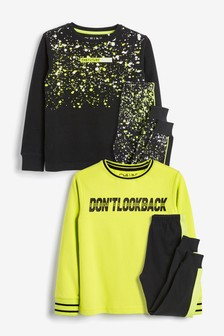 2 Pack Fluro Slogan Splatter Print Pyjamas (3-16yrs)