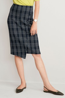Grid Jacquard Button Skirt