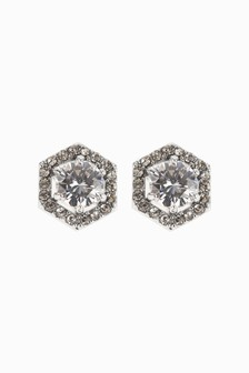 Hexagonal Set Stud Earrings