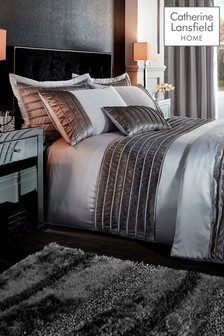 Catherine Lansfield Corded Velvet Bands Duvet Cover and Pillowcase Set