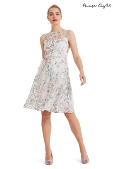 Phase Eight Cream Maddy Fit And Flare Embroidered Dress