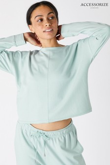 Accessorize Green Oversized Cropped Sweatshirt