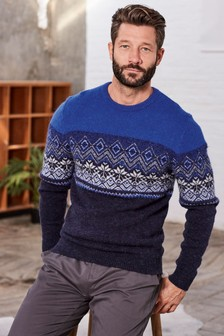 Fairisle Pattern Colourblock Crew