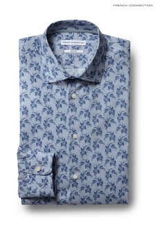 French Connection Slim Fit Blue Single Cuff Paisley Shirt