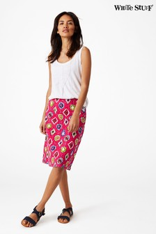 White Stuff Pink Charo Embroidered Skirt