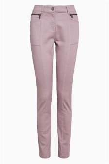 Zip Detail Skinny Trousers