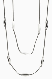 Silver Tone Bean Detail Cord Layered Necklace