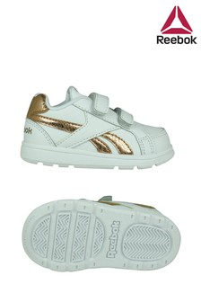 Reebok White/Gold Royal Trainers