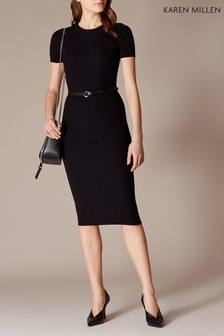 Karen Millen Black Skinny Rib Knit Dress