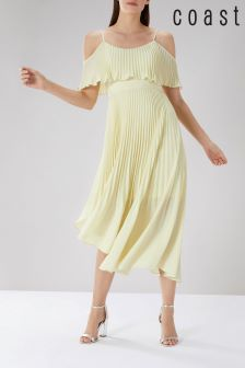 Coast Yellow Darcy Pleated Midi Dress