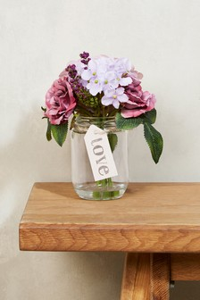 Artificial Floral In Jar With Tag