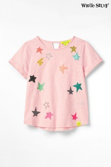 White Stuff Pink Kids Clustered Star Jersey T-Shirt
