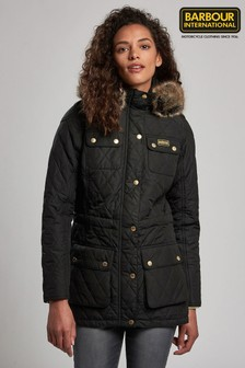 Barbour® International Enduro Black Quilted Coat