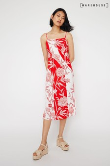 Warehouse Red Floral Midi Cami Dress