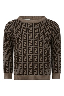 Fendi Kids Baby Brown Cotton And Cashmere Logo Jumper