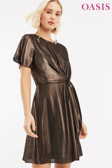Oasis Gold Foil Chiffon Tie Skater Dress