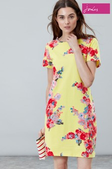 Joules Yellow Riviera Print Short Sleeve Jersey Dress