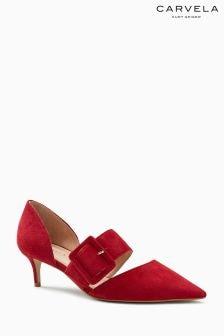 Carvela Anila zweiteilige Kitten-Heel-Absatzschuhe mit Schnalle aus Veloursleder, rot