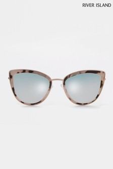 River Island Brown Print Revo Lexi Cateye Sunglasses