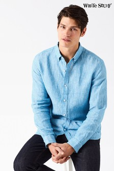 White Stuff Blue Lymington Stripe Linen Shirt