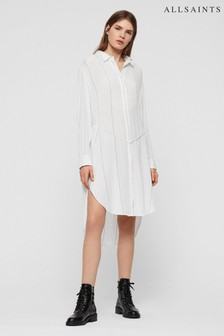 AllSaints White Stripe Hana Shirt Dress